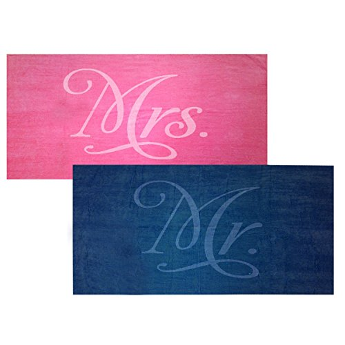 Classy Bride Mr. and Mrs. Beach Towel Set - Fuchsia and Navy from Classy Bride