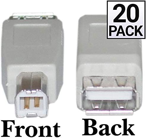 USB A to B Adapter GOWOS Type A Female to Type B Male 20 Pack