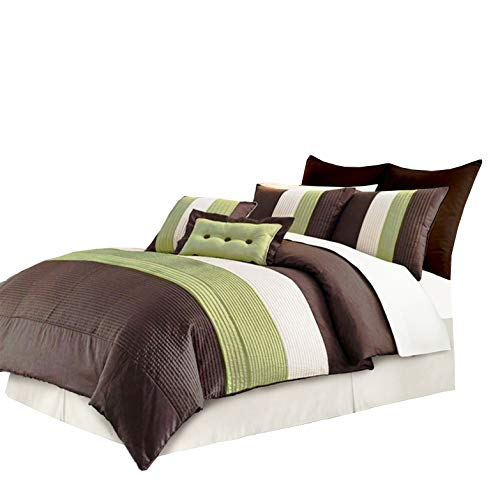 Chezmoi Collection 8 Pieces Beige, Green and Brown Luxury Stripe Duvet Cover Set King Size Bedding