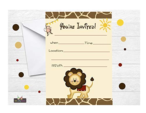 Lion Invitation Jungle Baby Shower, Safari Animal Kids Birthday Party Fill in Invites and Envelopes, Boy or Neutral Baby Shower Party -