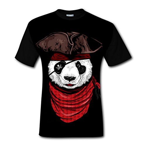 Images Pirates Caribbean Costumes (Pirate Panda Cling T-shirts Tee Shirt for Men Tops Costume Round Black 3XL)