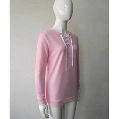 blusa de las mujeres,RETUROM Manga larga de las mujeres del otoño sudadera con cordones remata la blusa ocasional divierte la camiseta Rosa