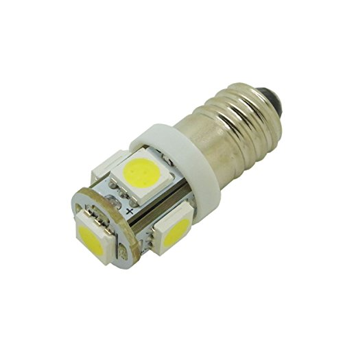 4 PCS LED E10 Light Bulbs DC 12V 5 LEDs 5050 SMD 1W Multicolor (Warm white)