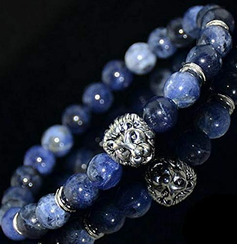 Werrox Fashion Men Natural Stone Beaded Bracelet Lion Buddha Charm Bead Bangle Jewelry | Model BRCLT - 22209 |
