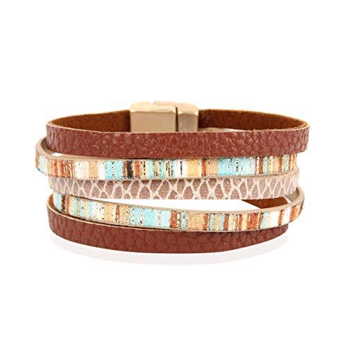 Bohemian Faux Suede Leather Wrap Multi Layer Bracelet - Boho Wrist Adjustable Cuff Bangle Crystal Rhinestone/Metallic Bead/Natural Stone/Pearl Embellishment (5 Multi Color Layer - Orange)