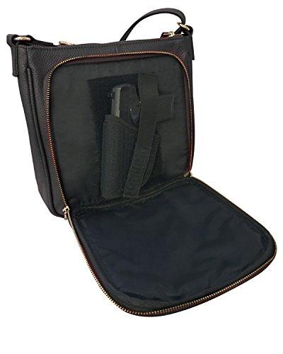 Bag Purse Black Locking CCW Concealment Carry Concealed Crossbody Gun Leather 48wtxzqw