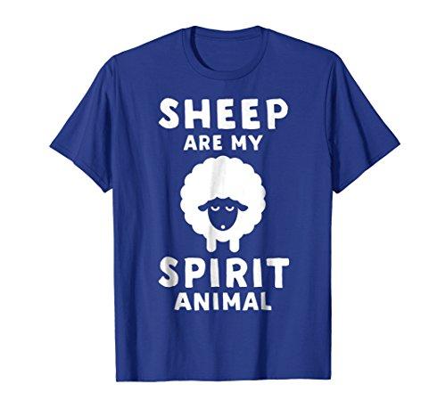 Sheep Animal Funny T-shirt (Mens Sheep Are My Spirit Animal - Funny Sheep T-Shirt XL Royal Blue)
