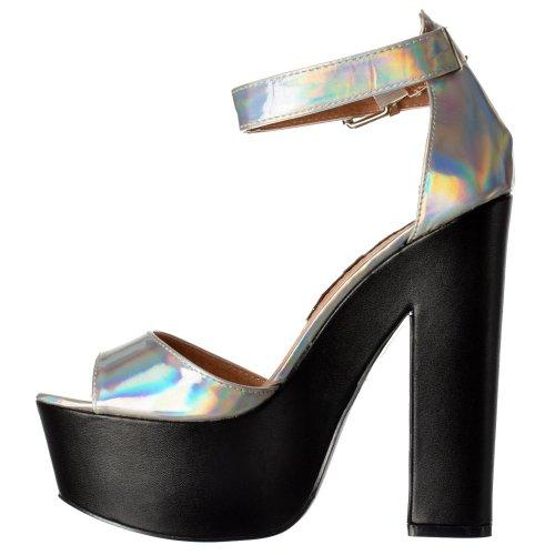 Platform Onlineshoe Hologram Heels High Women's Toe Peep Strap silver hologram Ankle 7qawr7Y