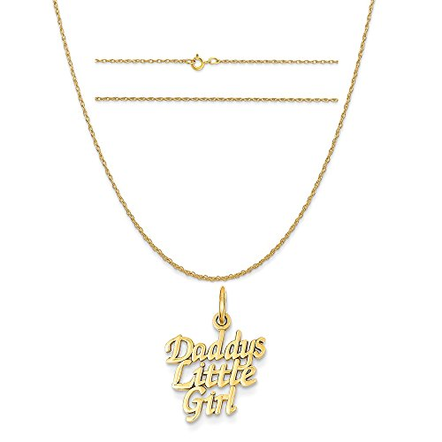 14k Yellow Gold Daddy's Little Girl Charm on a 14K Yellow Gold Carded Rope Chain Necklace, 18