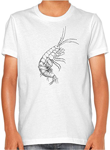 Kids Fresh Ink - Austin Ink Apparel Freshwater Crayfish Unisex Kids Short Sleeve Printed T-Shirt (White, M)