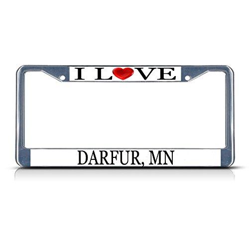 Darfur Heart - Sign Destination Metal License Plate Frame Solid Insert I Love Heart Darfur, Mn Car Auto Tag Holder - Chrome 2 Holes, Set of 2