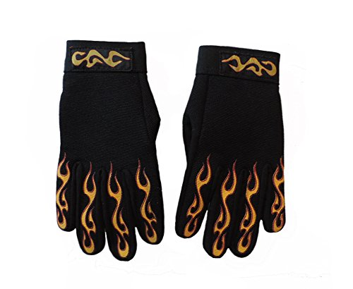 (Flaming Screenprinted Textile Firey Mechanic Gloves Size LARGE)