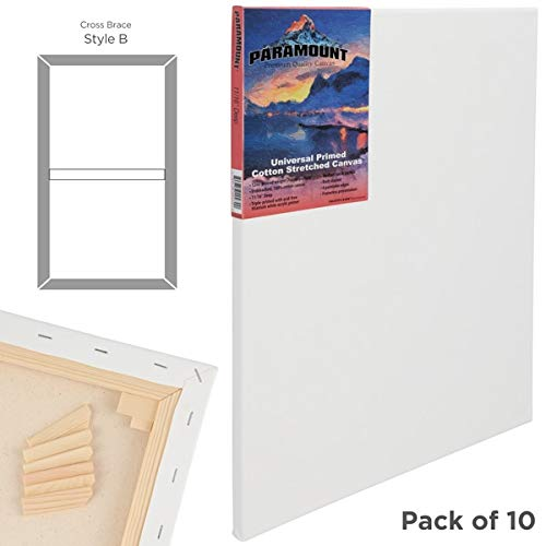 Paramount 3/4 Inch Prestretched Double Primed Artist Canvas 100% Cotton Bulk Value Pack [Qty 10] - 24''x30'' by Creative Mark