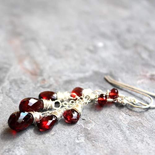(Dangle Garnet Earrings Sterling Silver Cascade Red Gemstone Briolettes)
