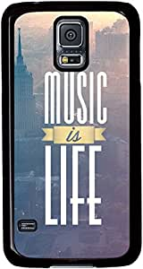 Music is Life Theme for Samsung Galaxy S5 I9600 Case(Black Side)