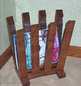 Wine Barrel Stave Magazine Rack made by Wine Barrel Creations Inc. by wine barrel magazine rack