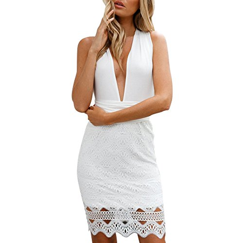 Respctful For Women Deep V-Colla Arbitrary Bandage Lace Stitching Package Hip (White, M) from Respctful