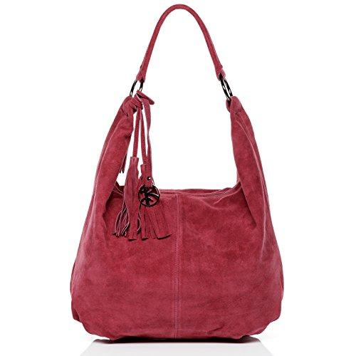 BACCINI sac porté épaule SELINA - grand - besace hobo - sac des dames beige-marron en cuir véritable Fuchsia