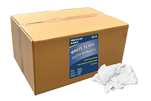 Pro-Clean Basics 99213 Reclaimed White Terry Cloth Rags, 50 lb. Box