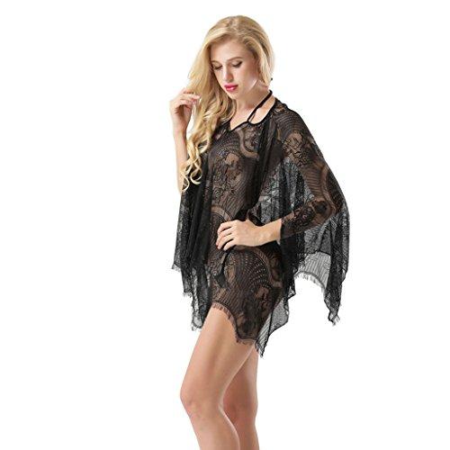 Colore pigiama size home pipistrello Ailin Sexy pizzo One a dimensioni con Nero in Nero gonna wzT4EqTAx