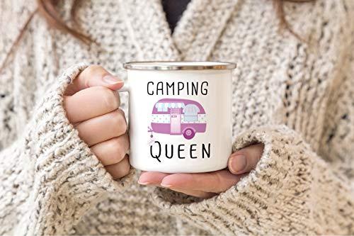 41ekI5jJw7L Tassendruck Emaille Tasse Camping lustig - Geschenk zum Camping/Tasse für Coole Camper/Geschenk-Idee Campingfreunde…