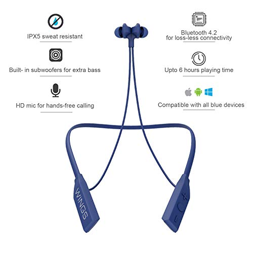 Wings Glide Neckband Bluetooth Wireless Earphones Headphones Earbuds with Built-in Woofers for Extra Bass and Siri Google Assistant Control (Blue)