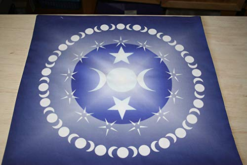 - Altar Cloth or Tarot Cloth - Triple Moon Goddess in Blue - Cotton or Poly