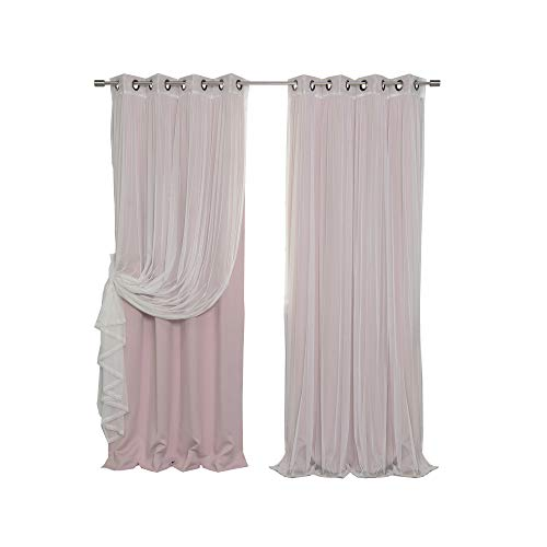 Best Home Fashion Umixm Mix And Match Tulle Sheer Lace And Blackout 4 Piece Curtain Set Antique Bronze Grommet Top Dusty Pink 52 W X 84 L 2 Curtains And 2 Sheer Curtains
