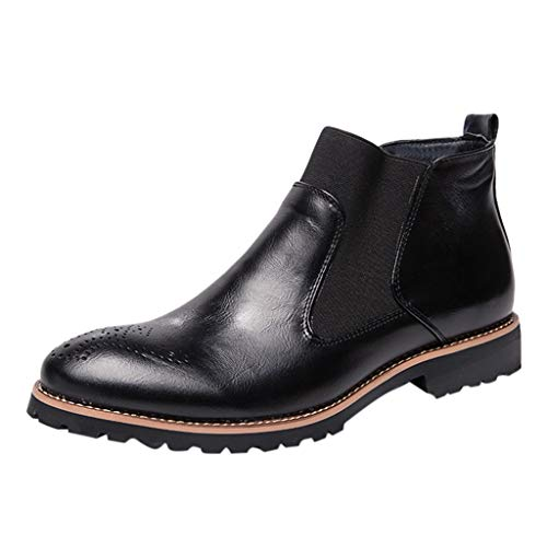 Men Ankle Boot,Casual Vintage Fashion British Comfortable Formal Chukka Dress Leather Boots (US:10, Black)