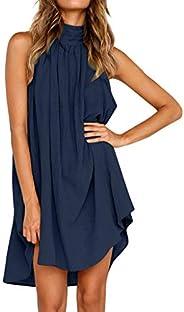 Party Dress for Women,Elegant Holiday Irregular Dress Ladies Summer Beach Dress Sleeveless Wokasun.JJ(Blue,XL)