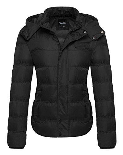 Wantdo Womens Winter Insulated Puffer Jacket with Removable Hood US Medium Black