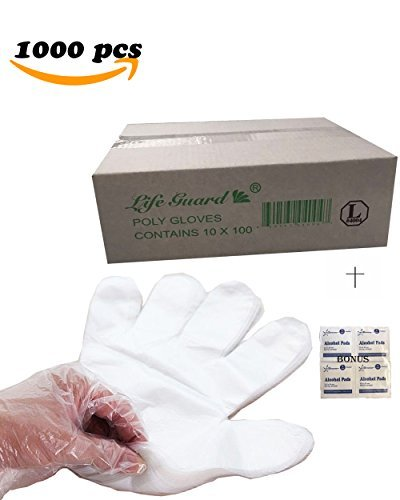 Powder Free Polyethylene Disposable Gloves - 1000 pcs- LARGE- Economical Disposable Clear Polyethylene (PE or Poly) Gloves PowerFree- Food Grade- Kitchen, Home, Restaurant, Cooking, Cleaning, Food Handling, Travel- Bonus Starryshine Alcohol Pads