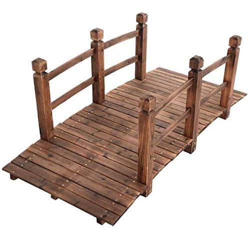 NumiTerra Wooden Bridge for Yard 5' | Natural Garden Bridge w/Railings | Solid Wood