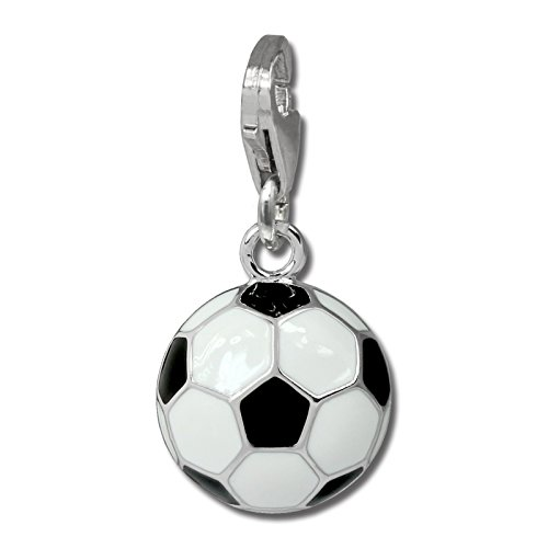 925 Sterling Silver Charm SilberDream football black and white enameled 925 Sterling Silver FC880W
