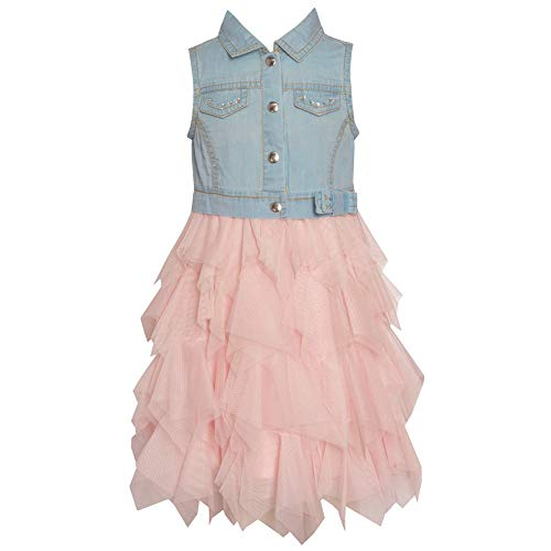 Rare Editions Girls Size 4-6X Blue Denim Pink Tulle Cascade Dress ()