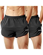 TENJOY Men's Running Shorts Gym Athletic Workout Shorts for Men 3 inch Sports Shorts with Zipper Pocket
