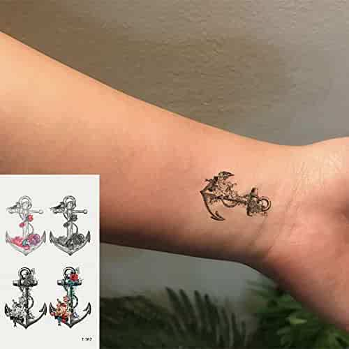 31064f7d3 Oottati Small Cute Temporary Tattoos Stickers Color anchor (2 Sheets)