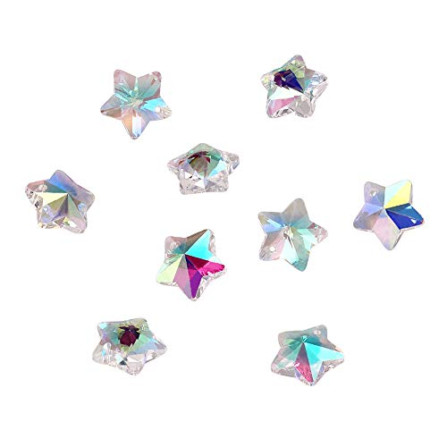 Craftdady 100PCS AB Color Clear Handmade Faceted Christmas Star Glass Pendants Charms Loose Bead for Bracelets Necklace Jewelry Making Findings (Star Pendant Faceted)