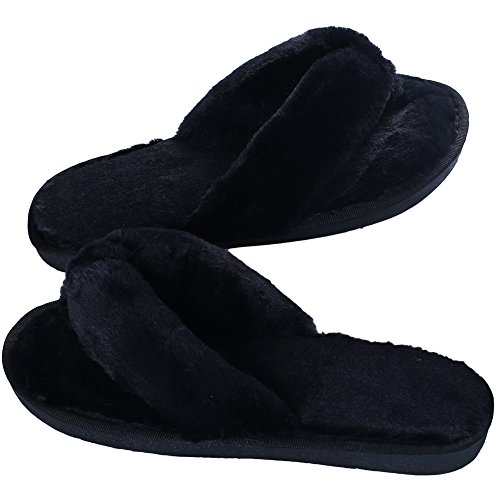 Soft Womens Clogs - Women's Soft Spa Thong Slippers Plush Indoor Clog Flip Flops House Slipper (6.5-7.5, Black)