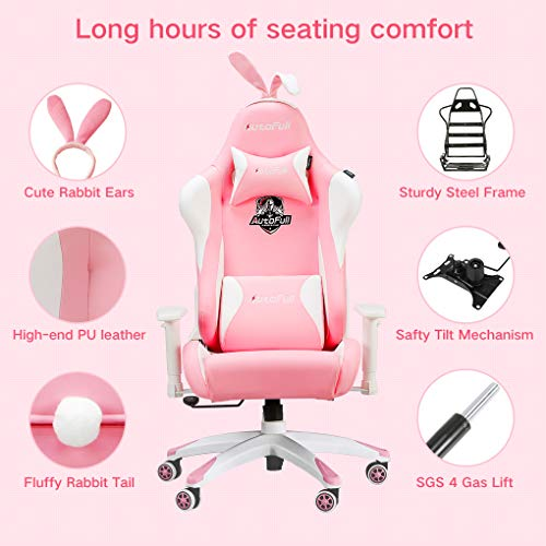 Stupendous Autofull Pink Gaming Chair Pu Leather High Back Ergonomic Racing Office Desk Computer Chairs With Massager Lumbar Support Rabbit Ears Buyselltop Gamerscity Chair Design For Home Gamerscityorg