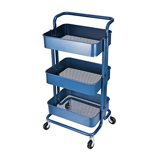 3-Tier Metal Mesh Storage Shelf Utility Rolling Cart with Removable Handle and Plug, Indoor or Outdoor Storage Organizer, Navy Blue