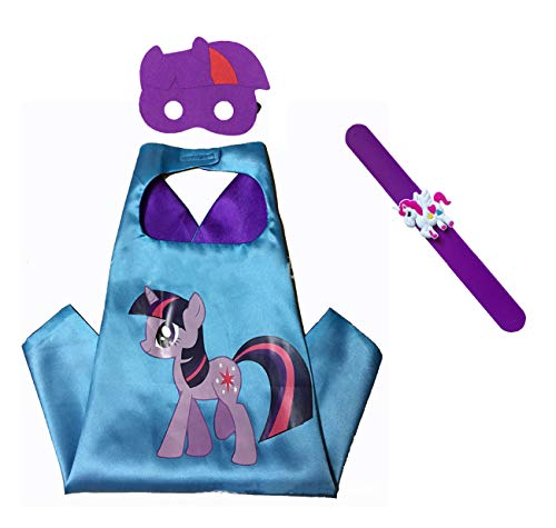 Raclove My Little Pony Costume Set-Cape, Mask and Pops Ring. for Age 4-10 Kids Boys and Girls. Wonderful Dressing up Gifts for Halloween Birthday Party Superhero Day and Play Day -