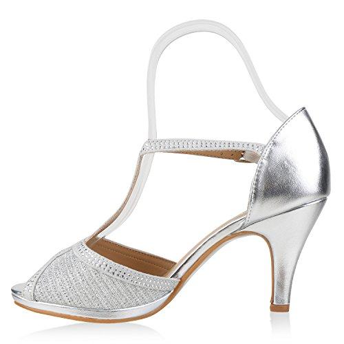 Stiefelparadies Damen Riemchensandaletten Strass Sandaletten Stilettos High Heels Party Schuhe Glitzer Lack Mid Heel Sandalen Flandell Silber Steinchen Carlton