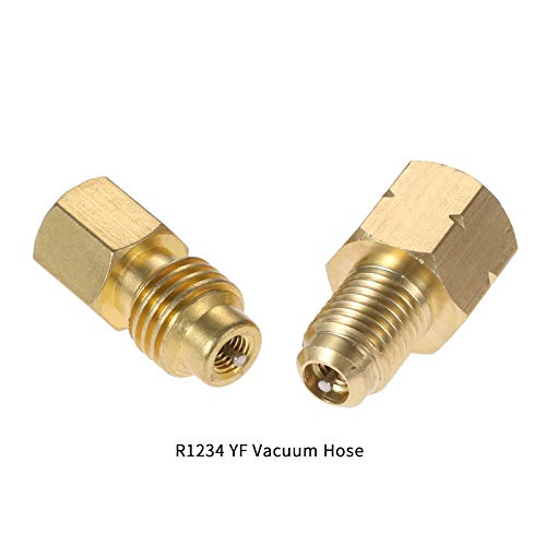 Aupoko 2 PC R1234YF Vacuum Hose, Pump Adapter 1/2 Acme LH x 1/4 SAE SAE Female FL Brass Valve Core, Fit for Refrigeration Conversion