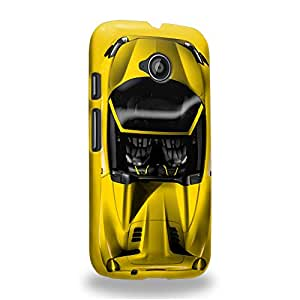 Case88 Premium Designs Art Collections Hand Drawing Sport Car Yellow Carcasa/Funda dura para el Motorola Moto E (2nd Gen.)