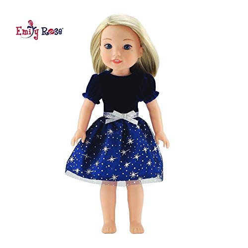 Emily Rose 14 Inch Doll Clothes for Glitter Girls   Blue Velvet Party Dress 14 Inch Doll   Fits Glitter Girls and American Girl Wellie Wishers and Glitter Girls Dolls