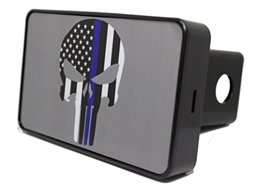 Bright Hitch - Blue Line Punisher Skull Hitch Cover