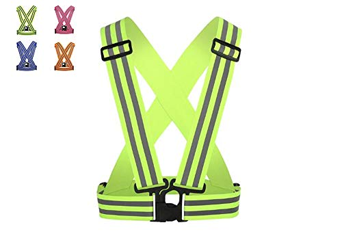 AURORA RACING 1 Pcs Reflective Vest(1Pack) for High Visibility All Day and Night,Fully Adjustable & Multi-Purpose: Running, Cycling, Motorcycle Safety, Unisex (Green)