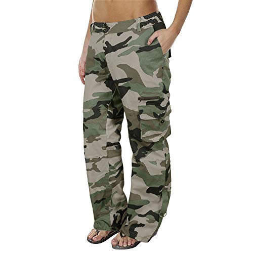 Lynwitkui Womens Casual Cargo Jogger Pants Active Military Army Style Mid Waisted Trousers with Pockets (Medium, -