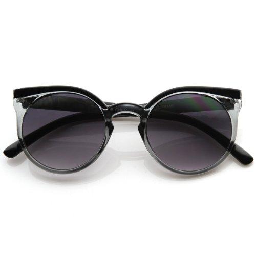 zeroUV - Retro Fashion Round Circle Horned Rim Cateye Sunglasses w/ Keyhole Bridge - Bridge Keyhole